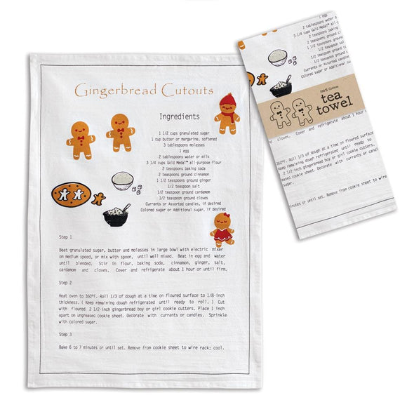 Gingerbread Recipe Tea Towel - Box of 4