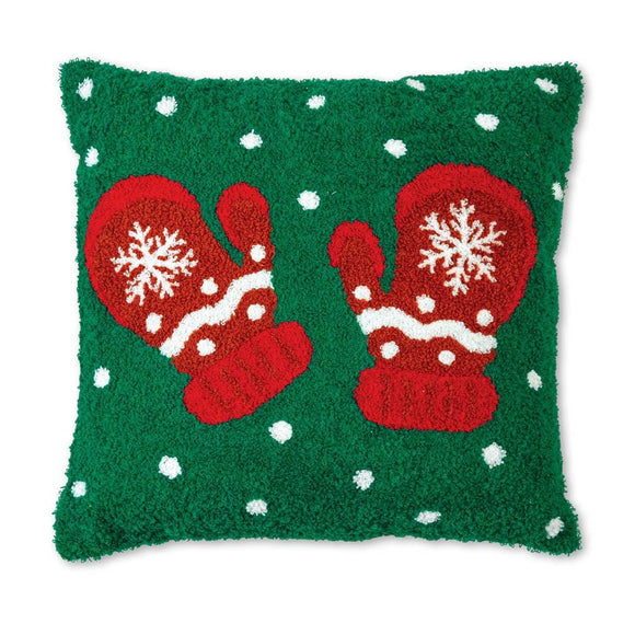 Mittens Hooked Cotton Pillow