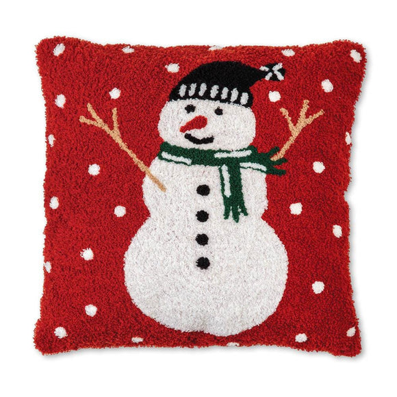Snowman Hooked Cotton Pillow