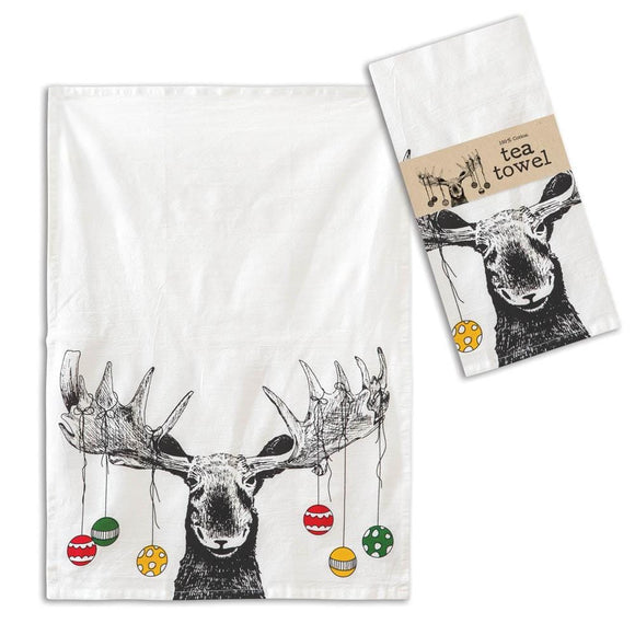 Moose with Ornaments Tea Towel - Box of 4