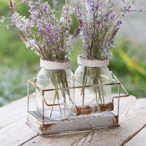 Double Flower Frog Jars with Caddy - Countryside Home Decor