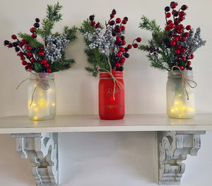 Farmhouse Christmas Mason Jar Centerpiece - Wide Mouth Quart