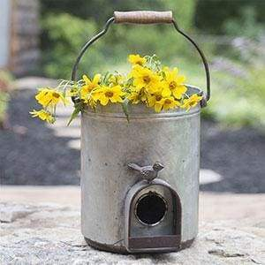 Bucket Birdhouse Planter - Countryside Home Decor
