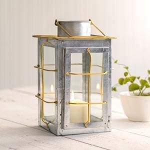 Caged Galvanized and Brass Trim Lantern - Countryside Home Decor