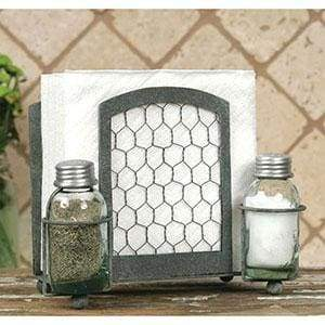 Chicken Wire Salt Pepper and Napkin Caddy - Countryside Home Decor