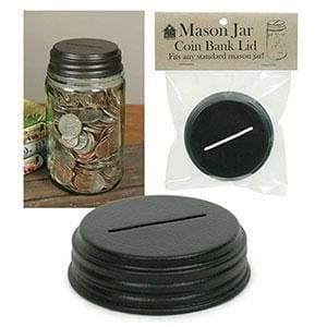 Coin Bank Mason Jar Lid - Box of 4 - Countryside Home Decor