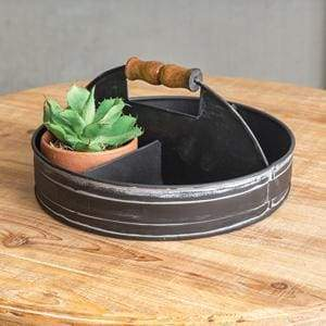 Divided Tray with Wood Handle - Black - Countryside Home Decor