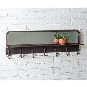 Entryway Mirror with Hooks - Countryside Home Decor