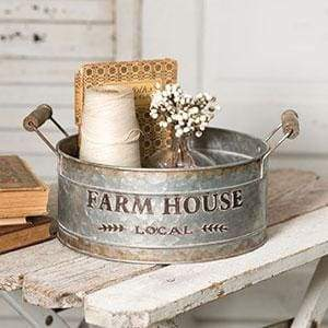 Farmhouse Local Round Bin - Countryside Home Decor