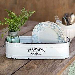 Flowers and Garden Long White Bin - Countryside Home Decor