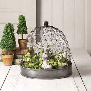 French Chicken Wire Cloche with Tray - Countryside Home Decor