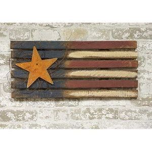 "Lath Flag with Rusty Star 24"" - Countryside Home Decor"