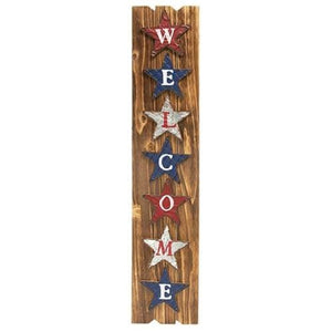 Welcome Americana Wooden Sign with Metal Stars - Countryside Home Decor