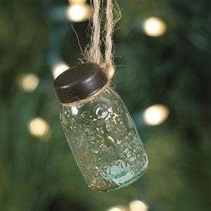 Glass Mini Mason Jar Hanging Christmas Ornament - Box of 6 - Countryside Home Decor