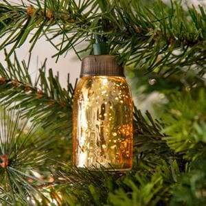 Glass Mini Mason Jar Ornament - Mercury Gold - Box of 6 - Countryside Home Decor