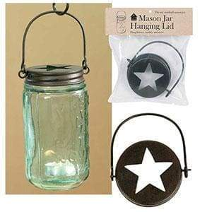 Hanging Mason Jar Lid - Star Top - Box of 4 - Countryside Home Decor