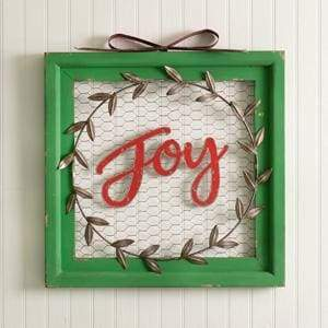 Joy Chicken Wire Wall Sign - Countryside Home Decor