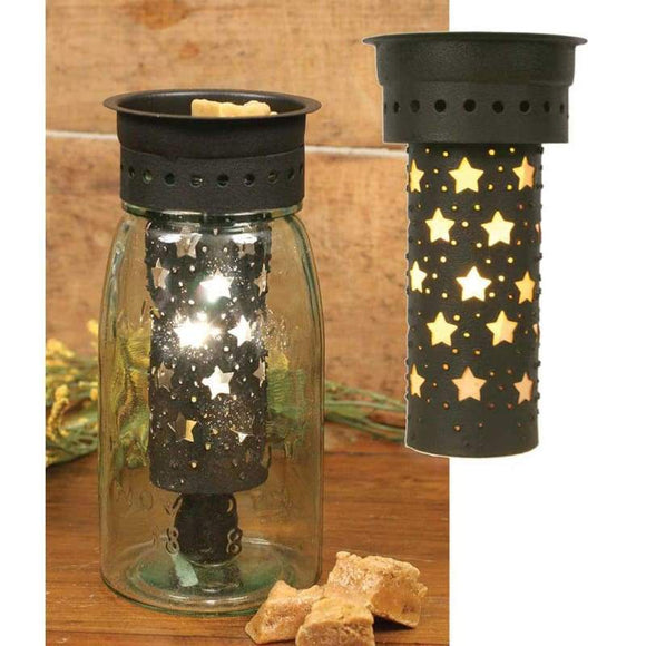 Large Punched Stars Quart Mason Jar Wax Warmer Kit - Box of 4 - Countryside Home Decor