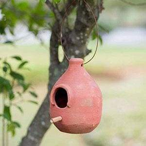Large Terra Cotta Hanging Birdhouse - Countryside Home Decor