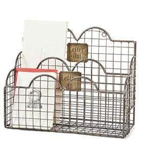 Letters In Mail Caddy - Aged Nickel - Countryside Home Decor