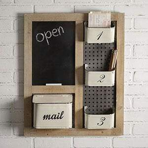 Mail Organizer & Chalkboard - Countryside Home Decor