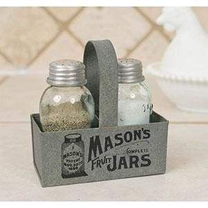 Mason Jar Box Salt and Pepper Caddy - Box of 2 - Countryside Home Decor