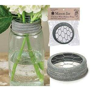 Mason Jar Chicken Wire Flower Frog Lid - Barn Roof - Box of 6 - Countryside Home Decor