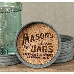 Mason Jar Lid Coaster - Mason Jar Logo - Box of 4 - Countryside Home Decor