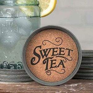 Mason Jar Lid Coaster - Sweet Tea - Box of 4 - Countryside Home Decor