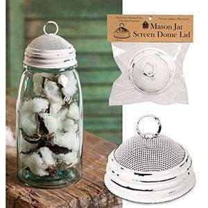 Mason Jar Screen Dome Lid - White - Box of 6 - Countryside Home Decor