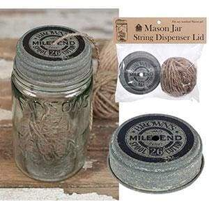 Mile End Mason Jar String Dispenser Lid With String - Box of 6 - Countryside Home Decor