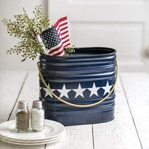 Navy Brighton Bucket with Stars - Countryside Home Decor