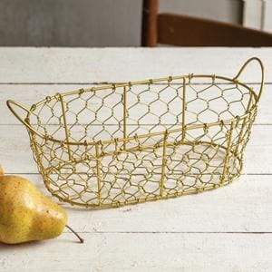 Oval Chicken Wire Basket with Handles - Gold - Countryside Home Decor