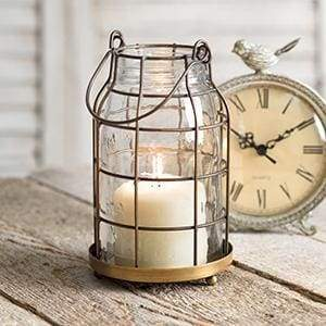 Quart Mason Jar Candle Cage - Antique Brass - Countryside Home Decor