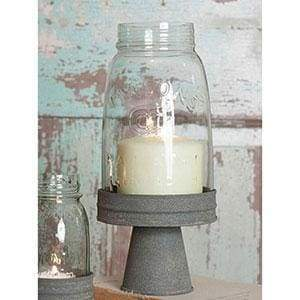Quart Mason Jar Chimney with Stand - Barn Roof - Countryside Home Decor