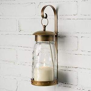 Quart Mason Jar Hanging Wall Sconce - Antique Brass - Countryside Home Decor