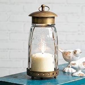 Quart Mason Jar Lantern - Antique Brass - Countryside Home Decor