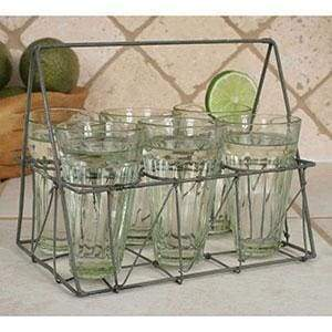 Rectangular Wire Caddy with Six Glasses - Galvanized - Countryside Home Decor