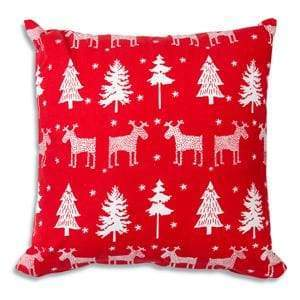 Reindeer and Trees Cotton Throw Pillow - Countryside Home Decor