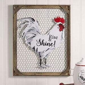 Rise & Shine! Chicken Wall Decor with Chicken Wire - Countryside Home Decor