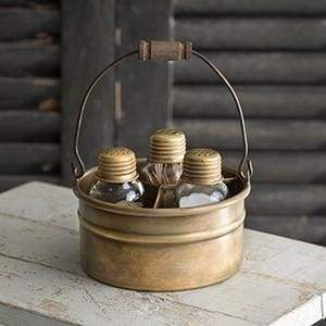 Round Bucket Salt Pepper and Toothpick Caddy - Antique Brass - Countryside Home Decor