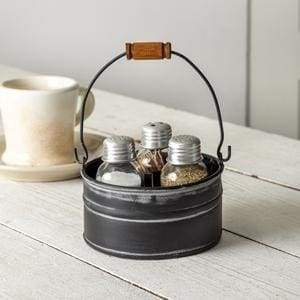 Round Bucket Salt Pepper and Toothpick Caddy - Black - Countryside Home Decor