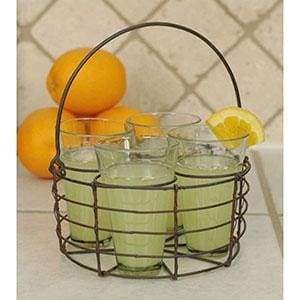 Round Wire Caddy with Four Glasses - Countryside Home Decor