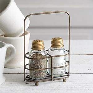 Salt and Pepper Carrier - Antique Brass - Box of 2 - Countryside Home Decor