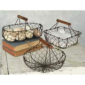 Set of Three Chicken Wire Baskets - Countryside Home Decor