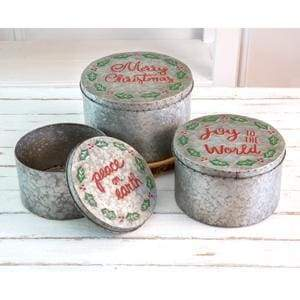 Set of Three Christmas Storage Containers - Countryside Home Decor