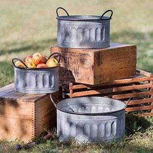 Set of Three Galvanized Apple Baskets - Countryside Home Decor