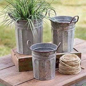Set of Three Tall Garden Pails - Countryside Home Decor