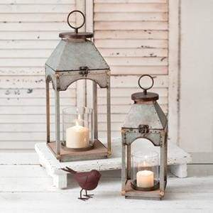 Set of Two Galvanized Candle Lanterns with Wood Base - Countryside Home Decor