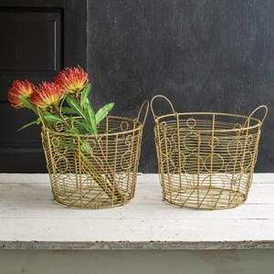 Set of Two Gold Baskets - Countryside Home Decor